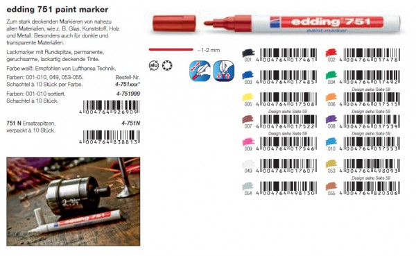 edding 751 paint marker Lackmarker- Sortiment 001 - 010