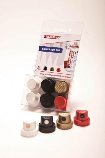 edding Sprühkopfset für Permanent Spray, Set mit 6 Sprühköpfen