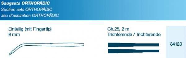 OP Saugset Typ Orthopädic FT 8 mm einteilig mit Verbindungsschlauch CH25 200cm Trichter
