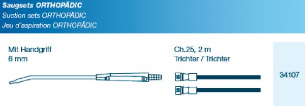 OP Saugset Typ Orthopädic 6mm mit Verbindungsschlauch CH25 300cm