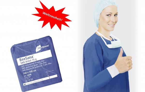 BeeSana® SMS-Kittel blau, VE: 10 Stück