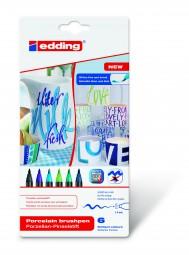edding 4200 Porzellan Pinselstift, Set 3 (blau-grün-Farbtöne)